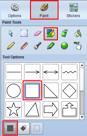 paint panel in Wixie