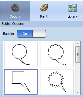 speech bubble options in Pixie and Wixie