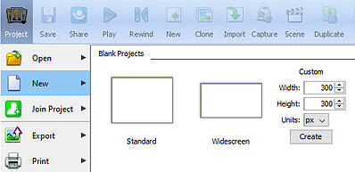 create new project panel