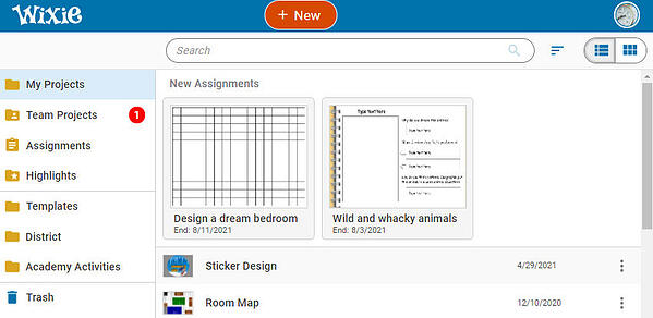 wixie-student-home-page-with-assignment