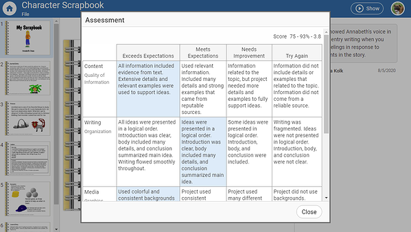 wixie-student-view-assessment