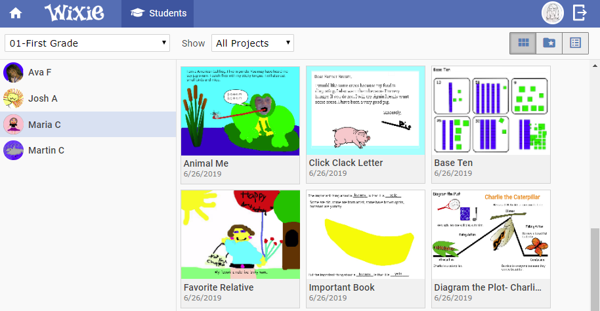wixie-teacher-view-student-work