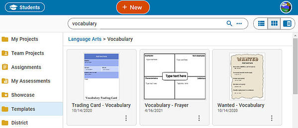 wixie-template-vocabulary