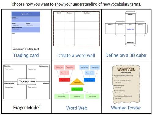 wixie-vocabulary-choice-board